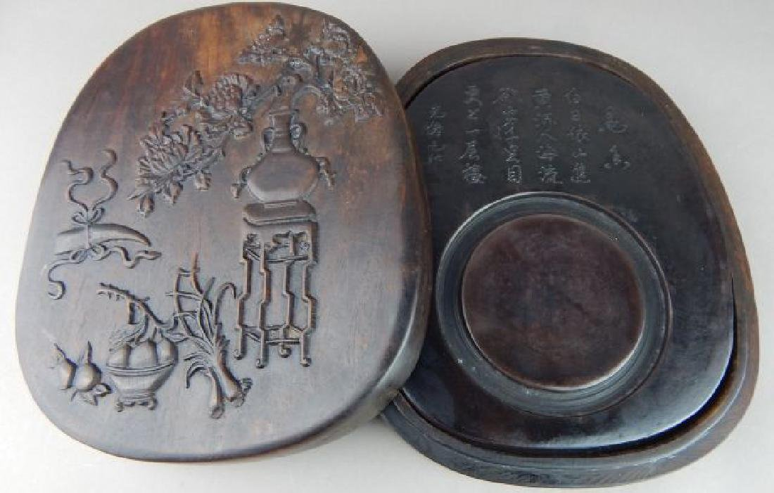 Chinese Carved Fruit and Flowers Ink Stone Box