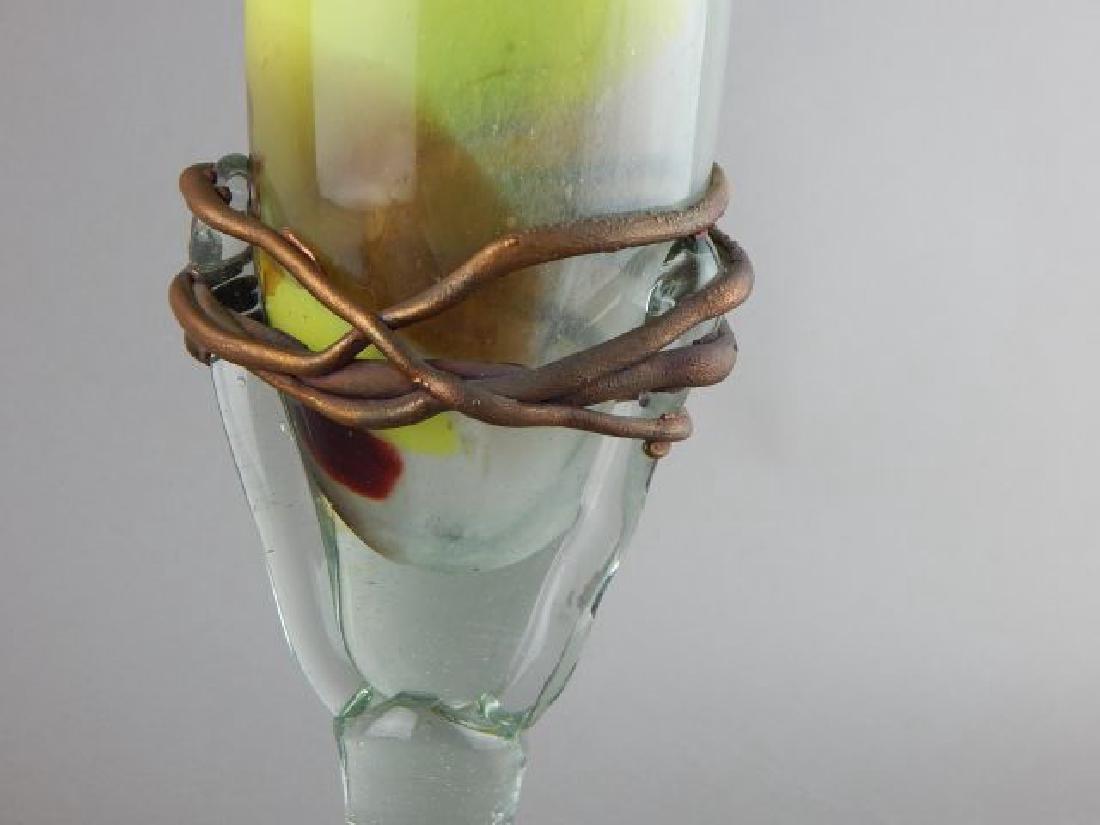 Tall Czechoslovakian Art Glass Vase - 5