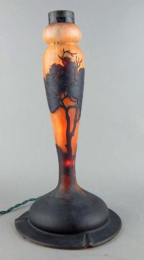 Daum Nancy Cameo Art Glass Lamp Base