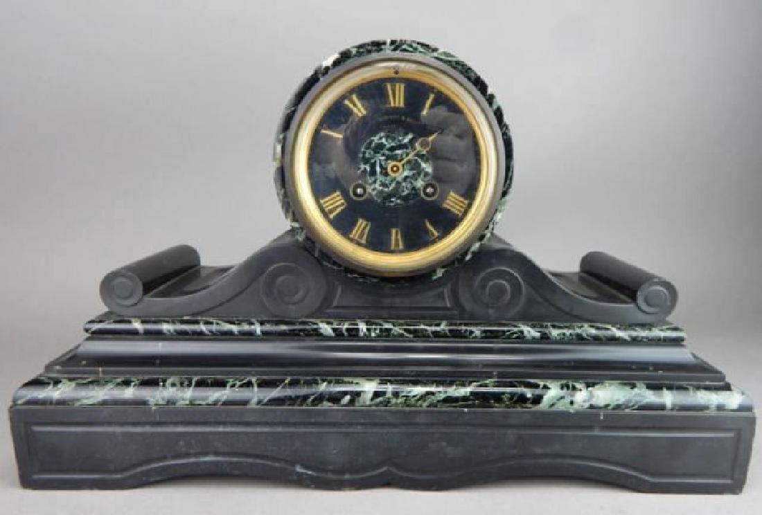 Antique Black Slate & Green Marble Mantle Clock