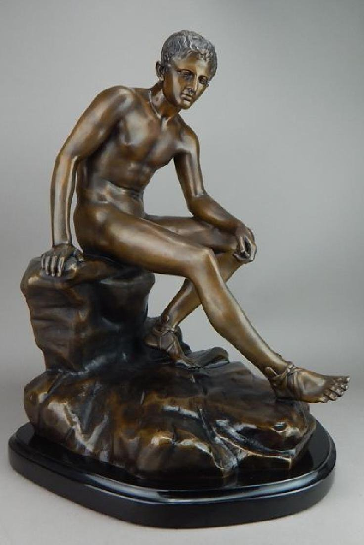 Classic Art Bronze Nude Young Man on Marble
