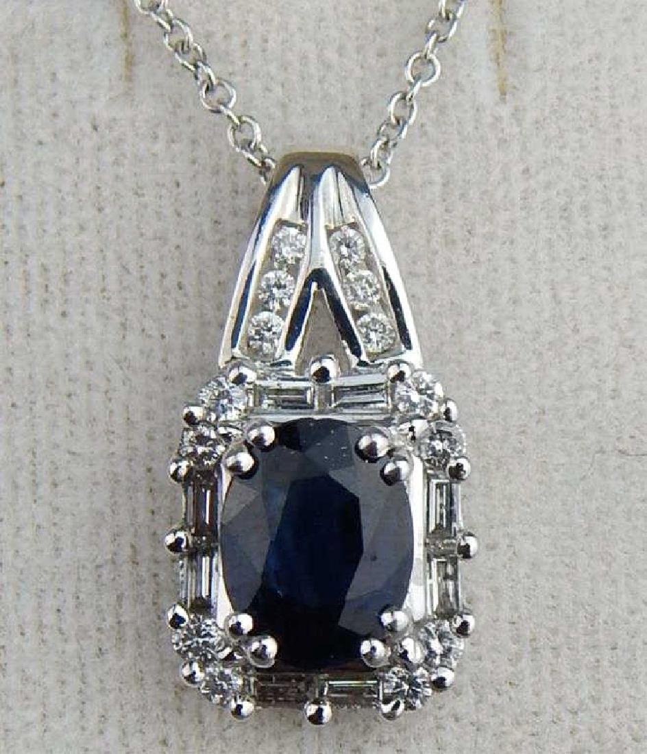 Custom Made 2 Carat Blue Sapphire Pendant