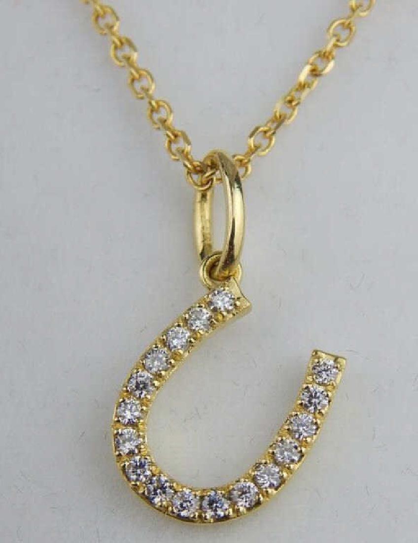 Tiffany Style 18k Gold & Diamond Horseshoe Pendant
