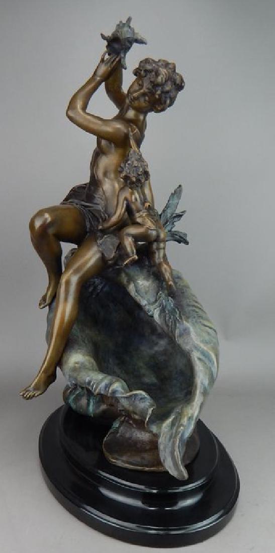 Art Nouveau Style Lady & Cherub on Sea Shell