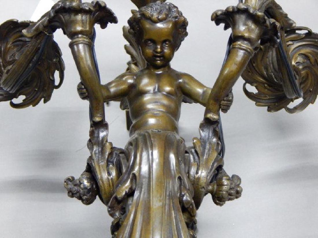 Pair of Large Bronze Cherub Four Arm Sconces - 3
