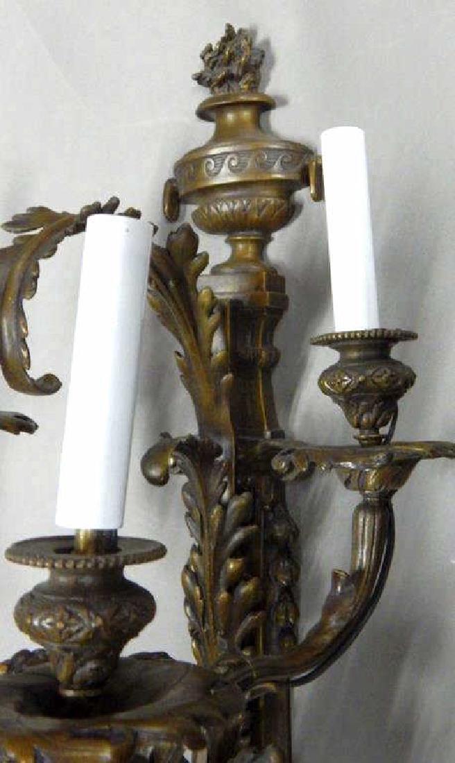 Pair of Large Bronze Cherub Four Arm Sconces - 7