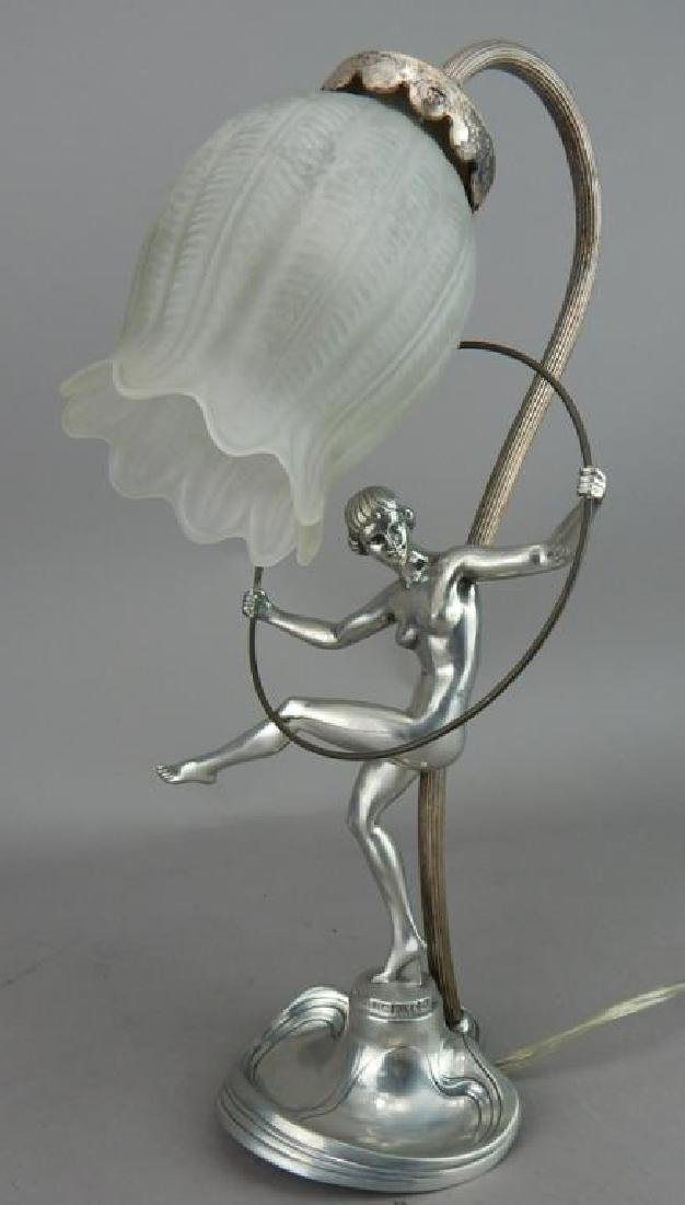 Art Nouveau Style Hoop Girl Figural Lamp - 2