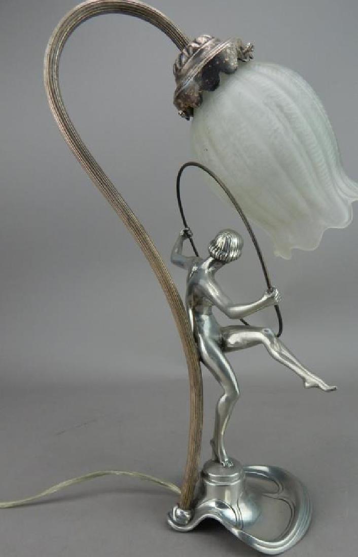 Art Nouveau Style Hoop Girl Figural Lamp - 6