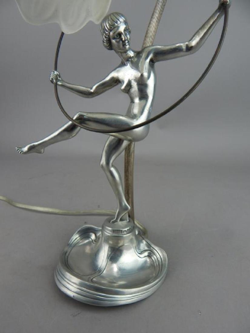 Art Nouveau Style Hoop Girl Figural Lamp - 8
