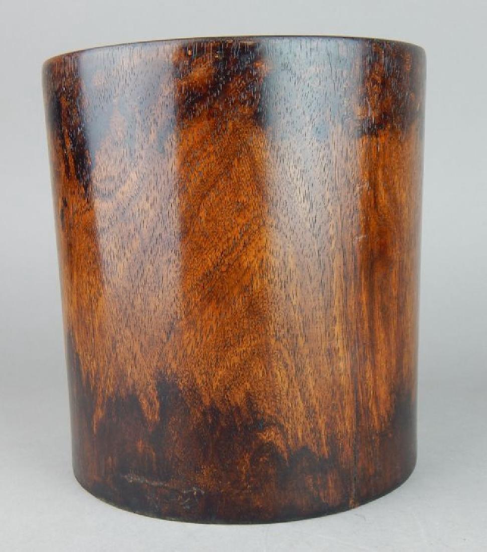 Large Chinese Hardwood Brush Pot