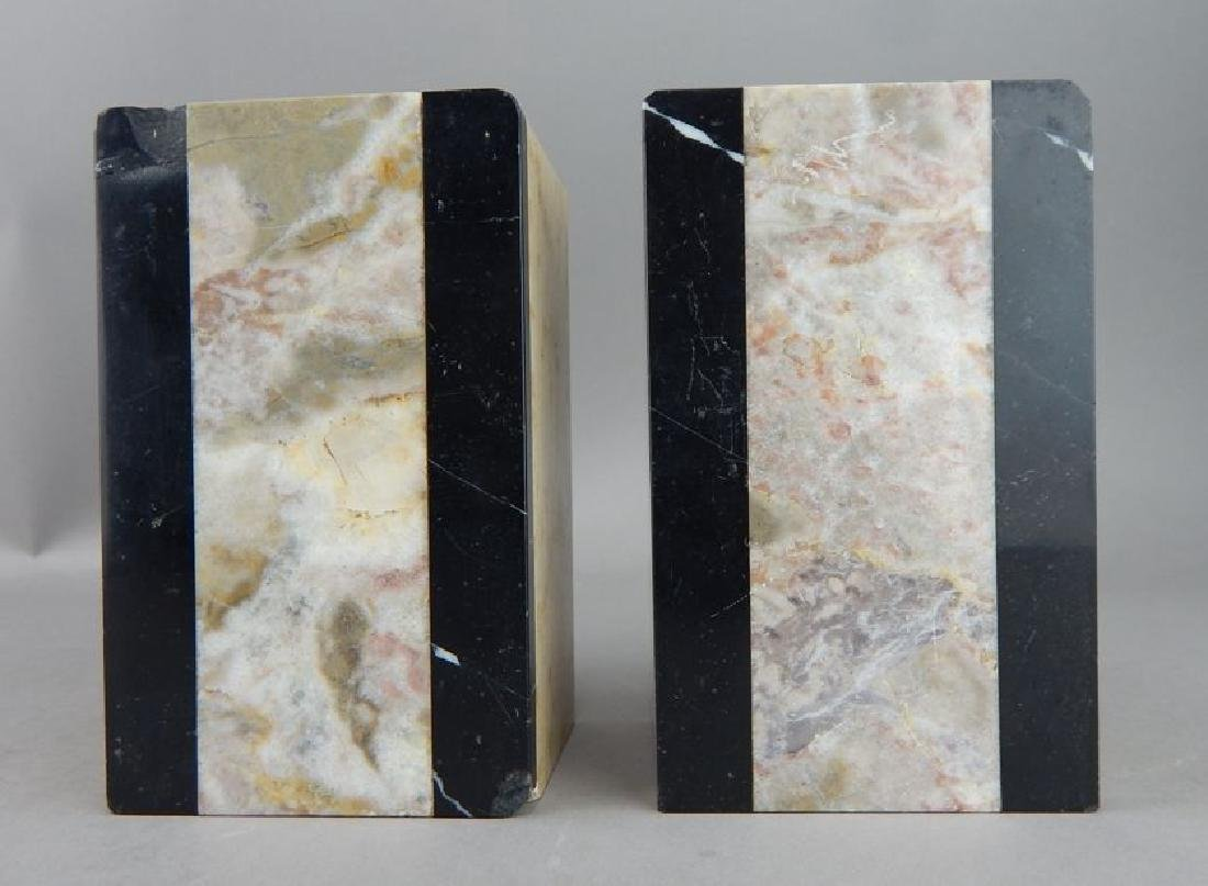 Art Deco Pink and Black Marble Bookends