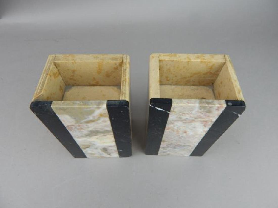 Art Deco Pink and Black Marble Bookends - 2