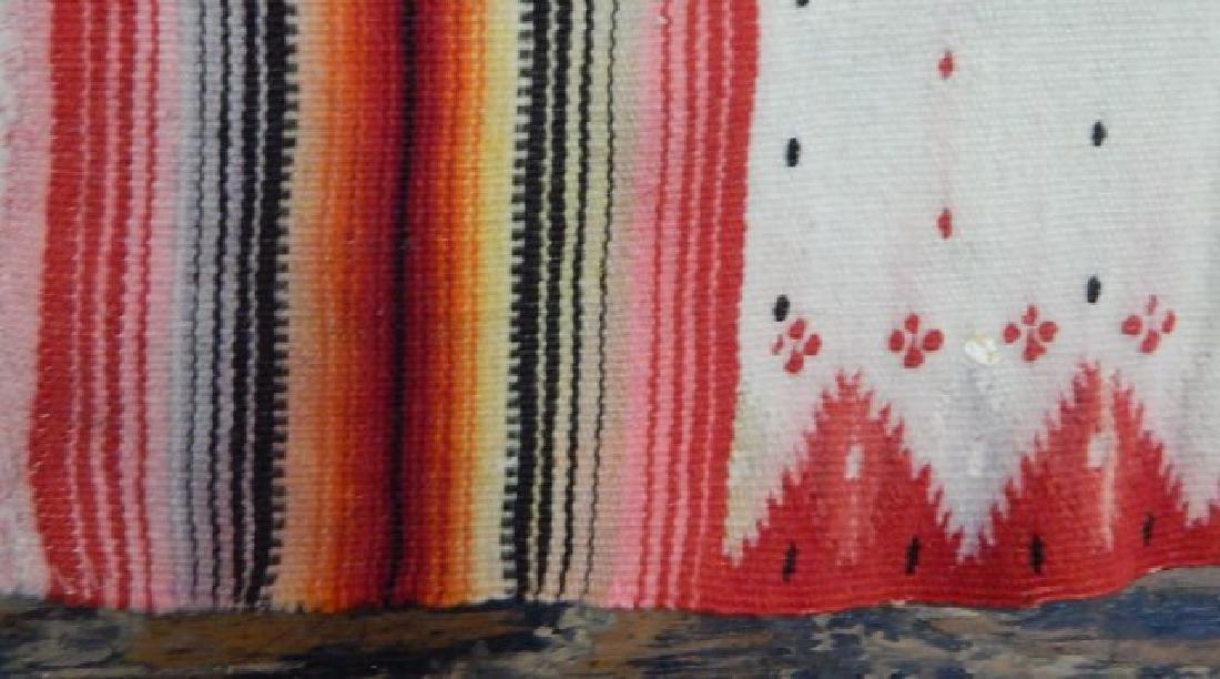 Vintage Mexican Serape Wool Rug - 4