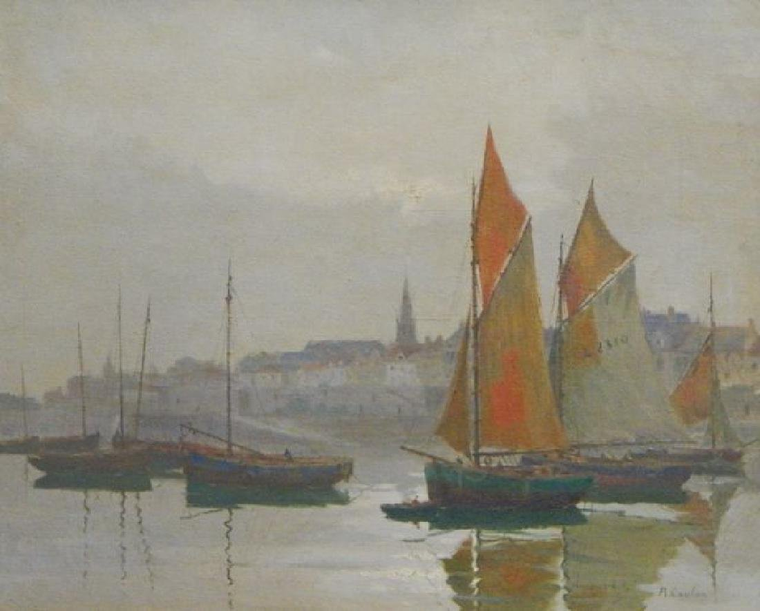 Rene Coulon (1876-) Oil on Canvas Painting - 2
