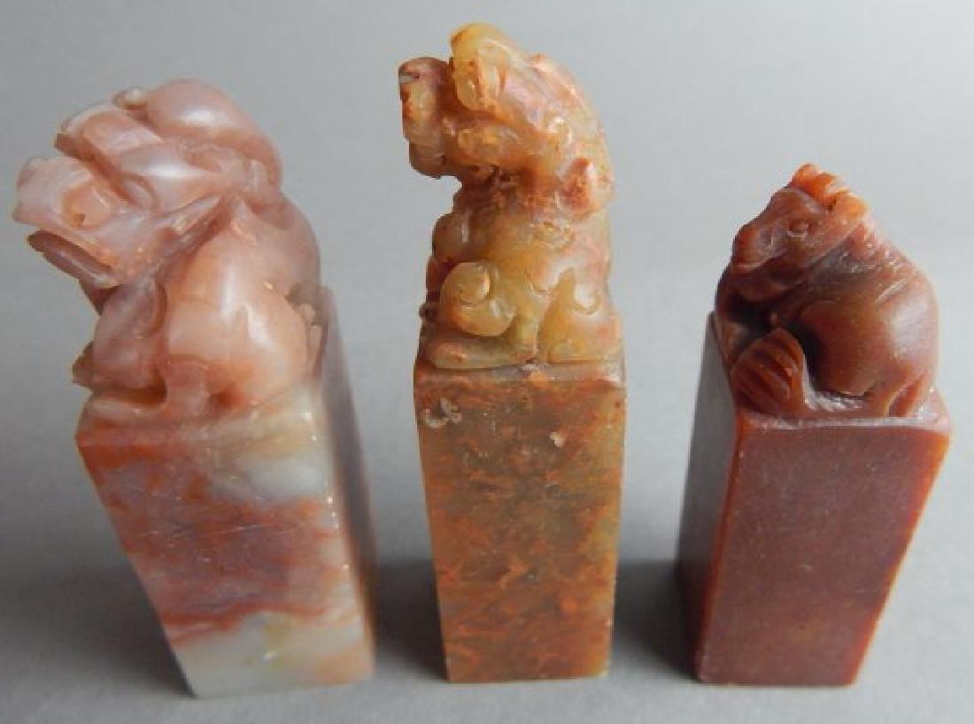 Three Foo Lion Stone Stamps - 2