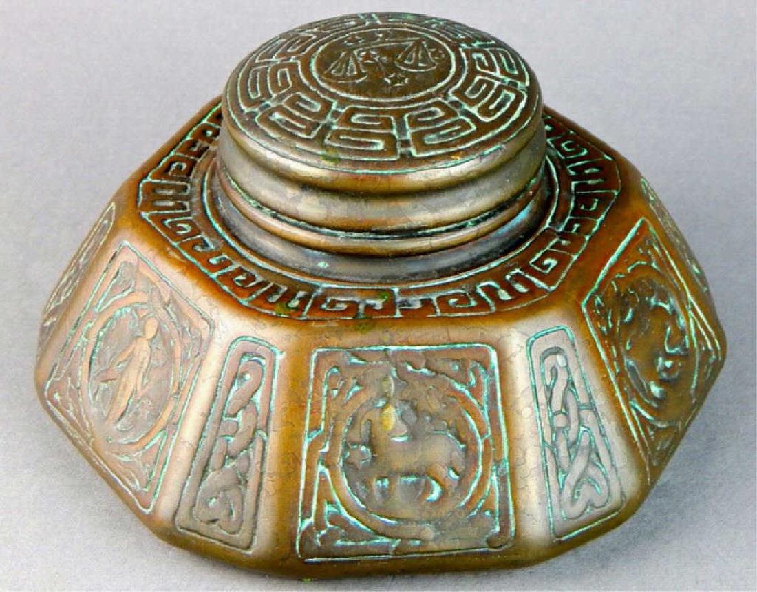 Tiffany Studios NY Bronze Zodiac Inkwell