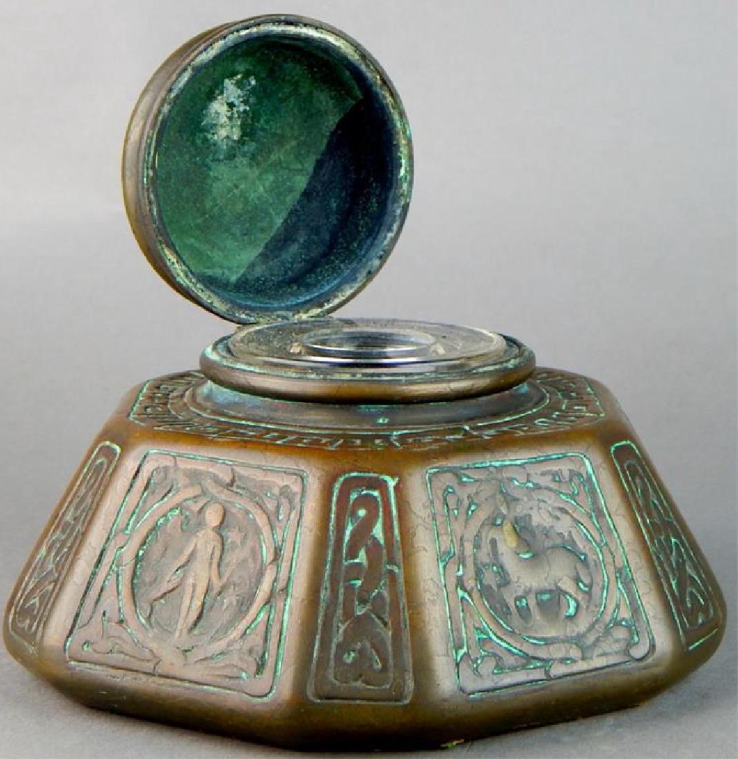 Tiffany Studios NY Bronze Zodiac Inkwell - 8