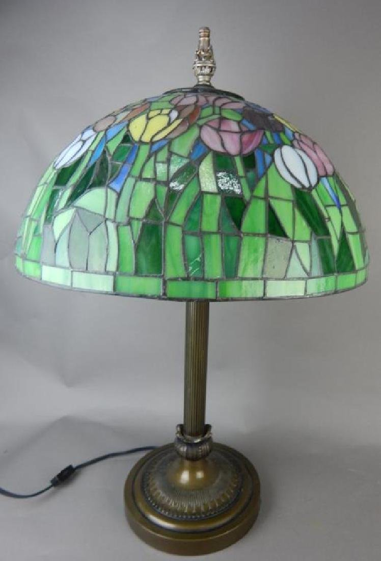 Leaded Art Glass Lamp with Flowers