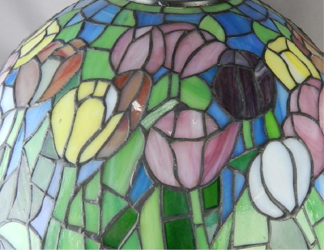 Leaded Art Glass Lamp with Flowers - 2