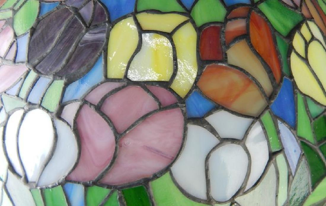 Leaded Art Glass Lamp with Flowers - 4