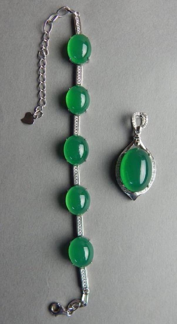 Sterling Silver Jade Pendant and Bracelet