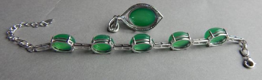 Sterling Silver Jade Pendant and Bracelet - 2