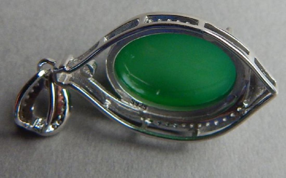 Sterling Silver Jade Pendant and Bracelet - 3