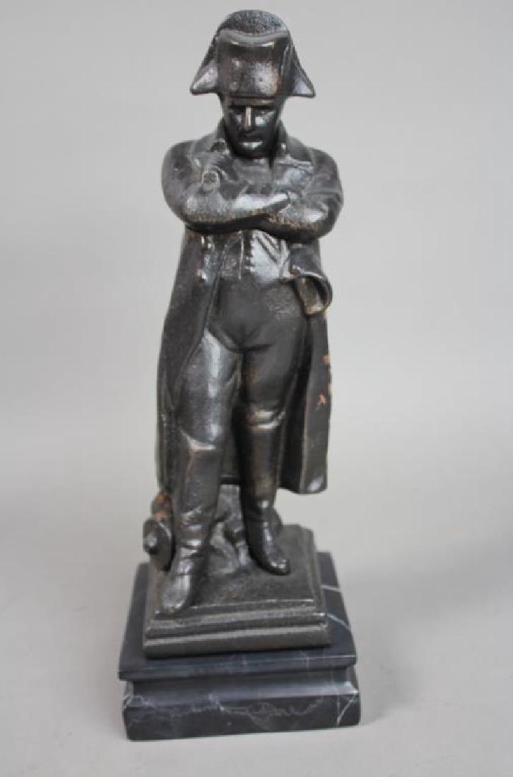 Black Cast Iron Napoleon Figure on Marble Base