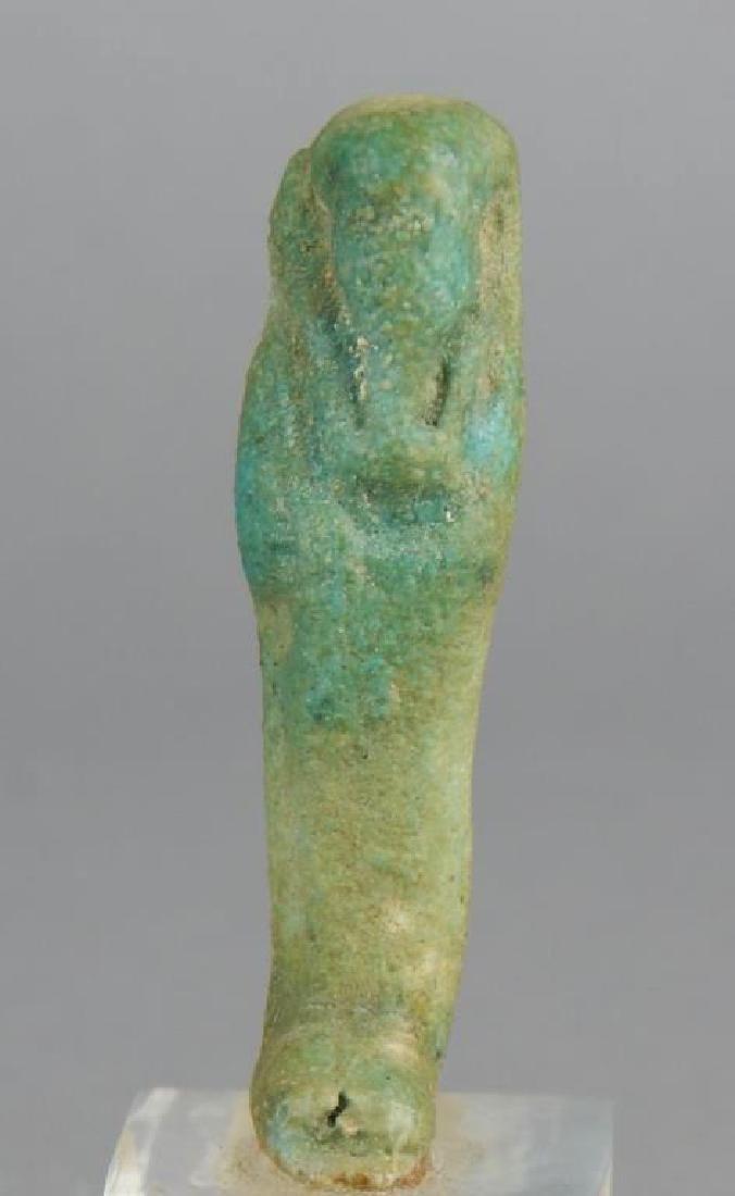 600BC Egyptian Clay Ushabti on Lucite Base - 2