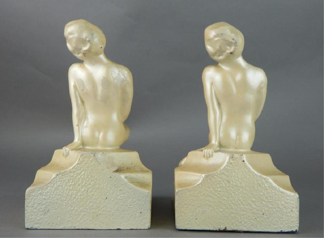 Art Deco Nude Art Pottery Bookends - 5