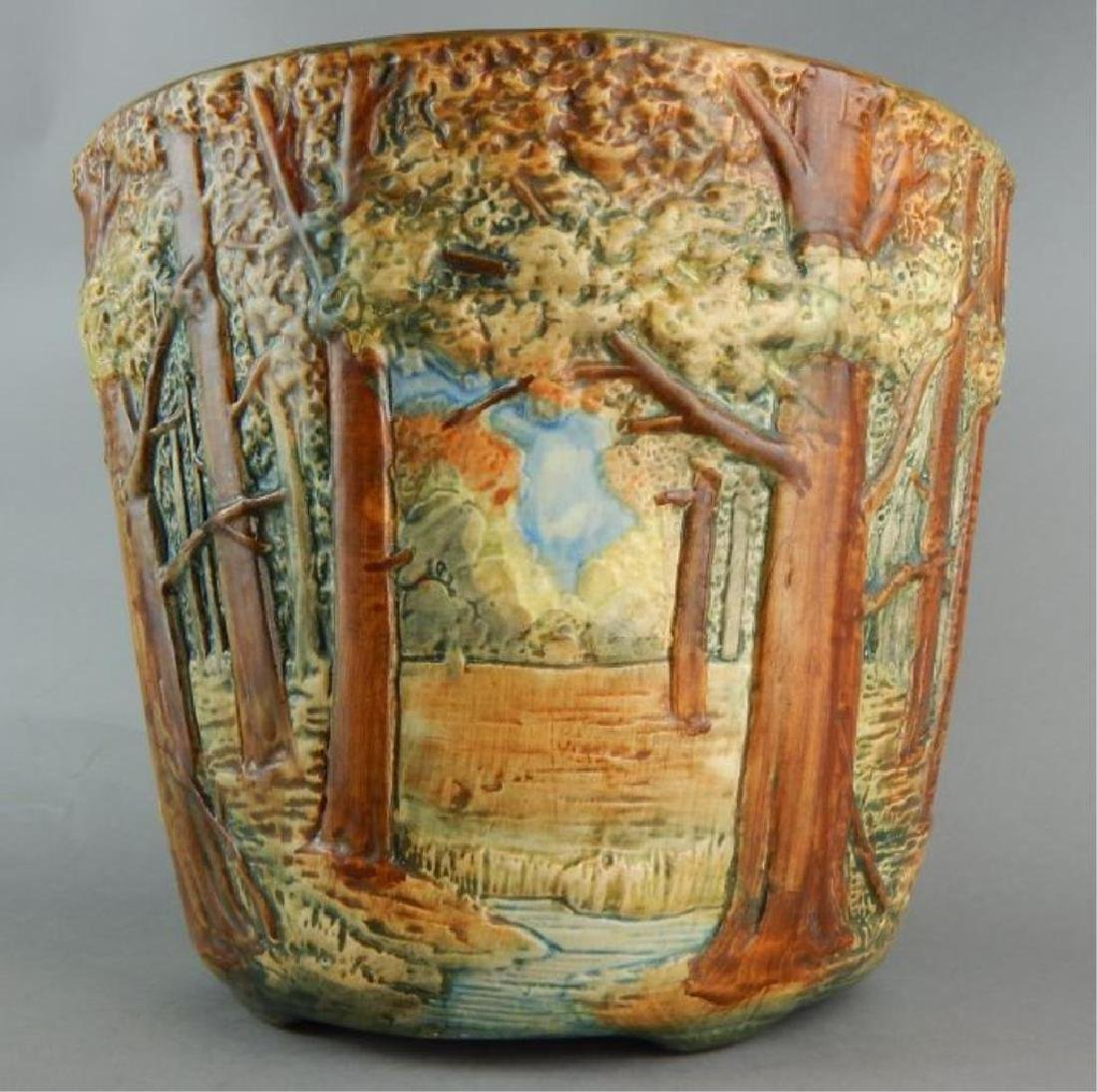 Weller Forest Scene Art Pottery Jardiniere - 2