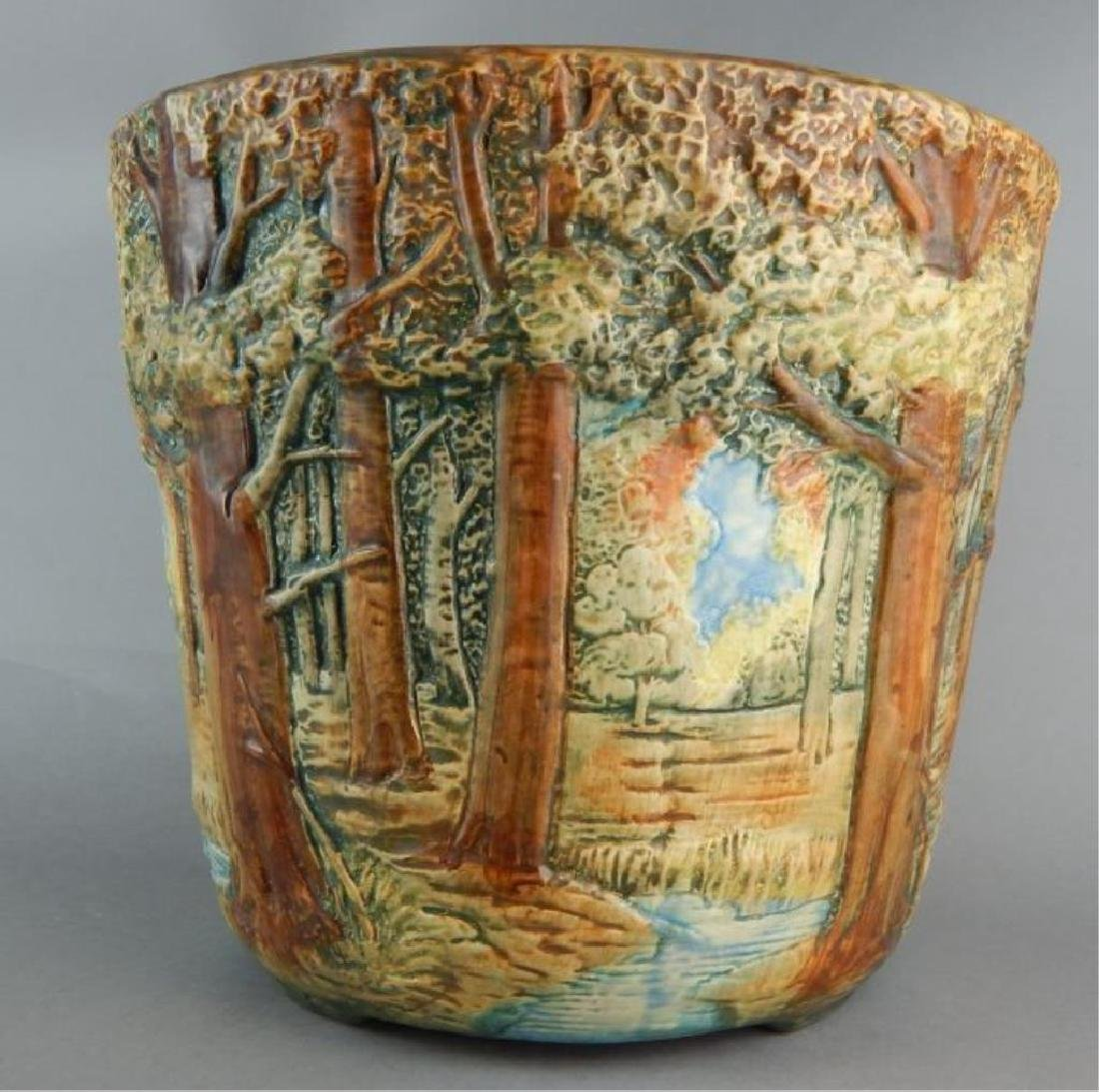 Weller Forest Scene Art Pottery Jardiniere - 3