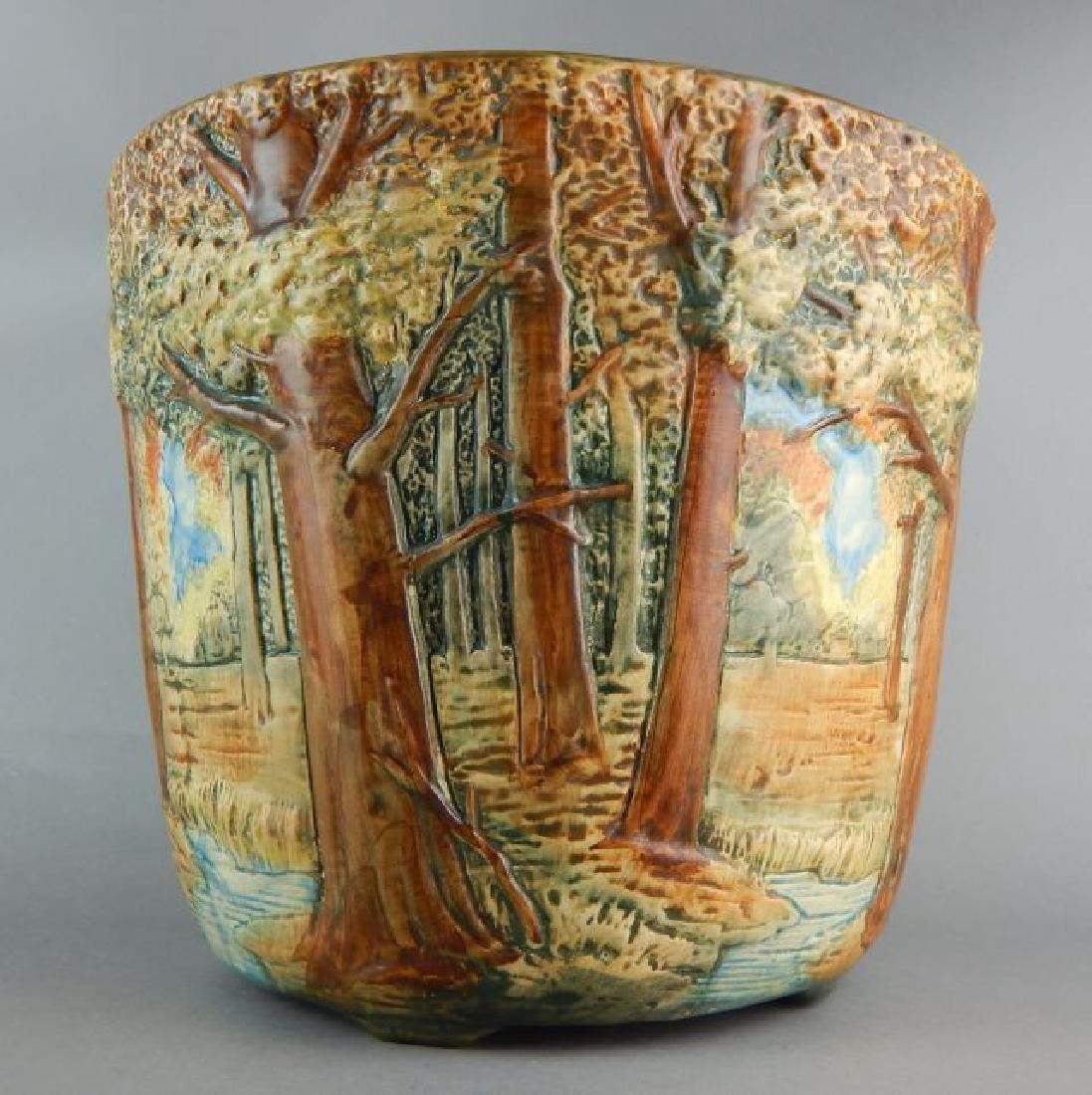 Weller Forest Scene Art Pottery Jardiniere - 4
