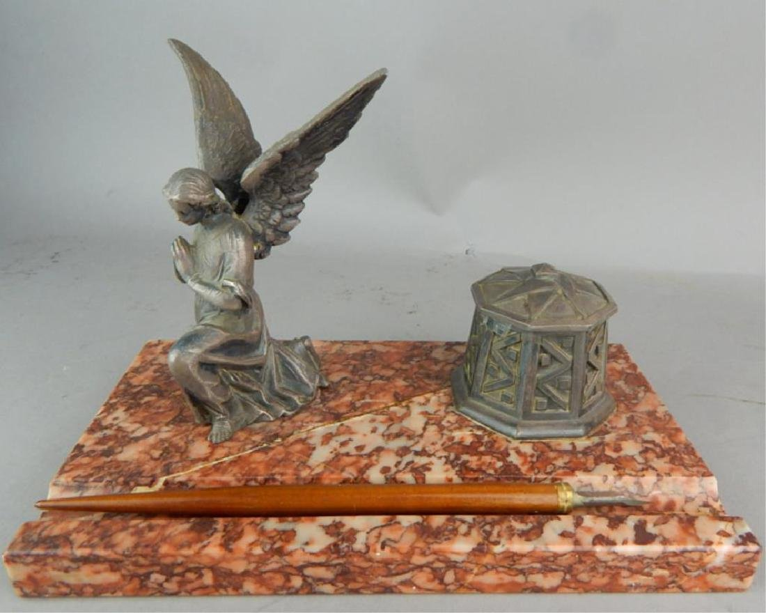 Guardian Angel Inkwell on Rouge Marble