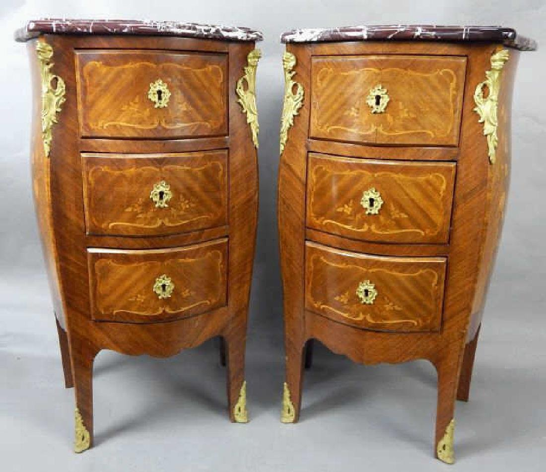 Pair of Marquetry Ormolu Marble Top Night Stands