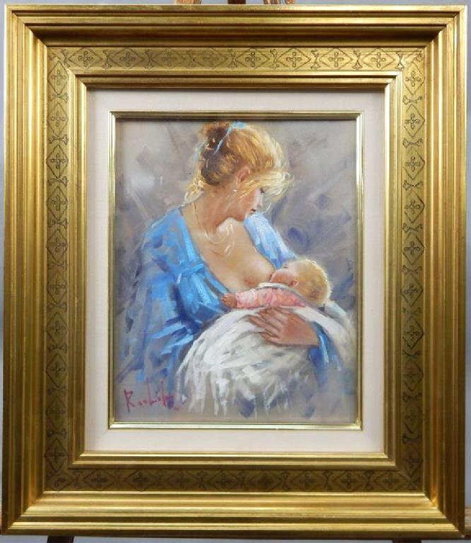 European Oil Painting Mother and Child