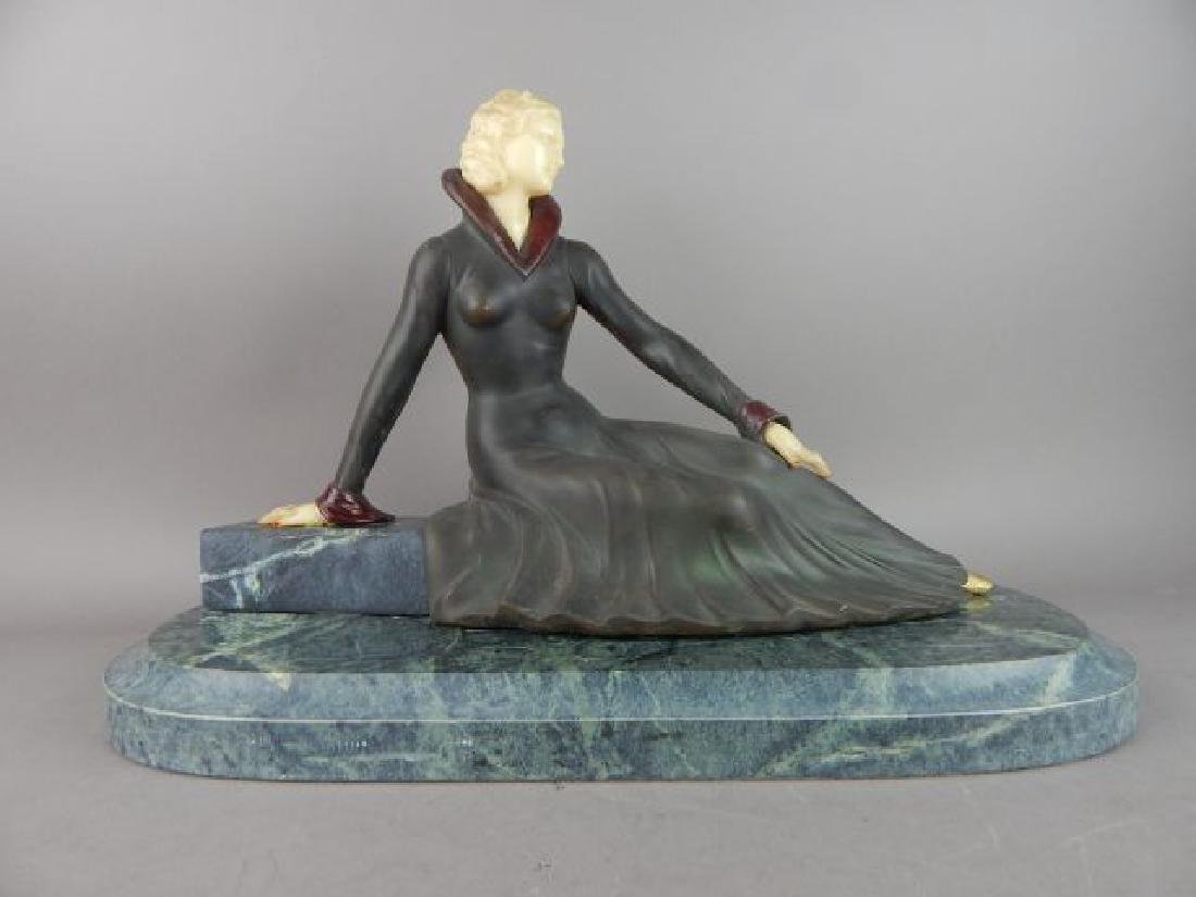 Art Deco Style Lady Figure on Marble Base