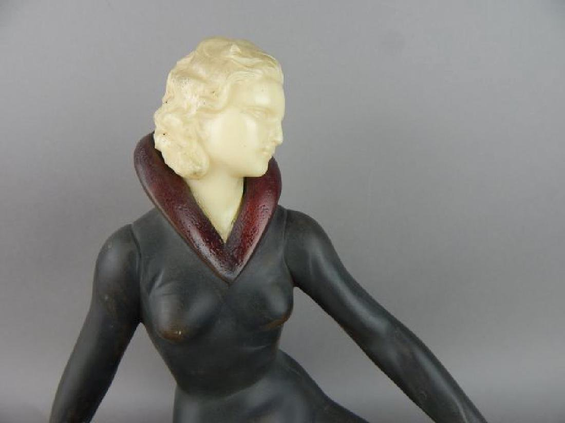 Art Deco Style Lady Figure on Marble Base - 2