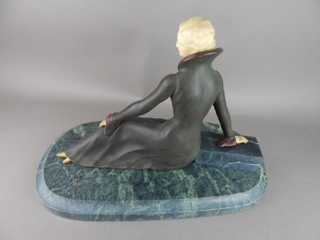 Art Deco Style Lady Figure on Marble Base - 3