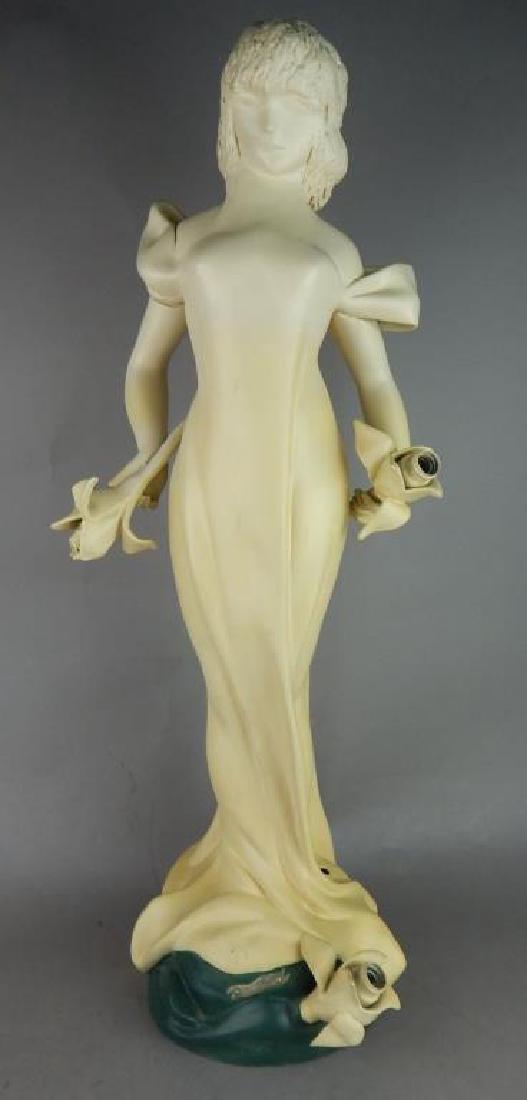 Original Deco Painted Spelter Girl Lamp