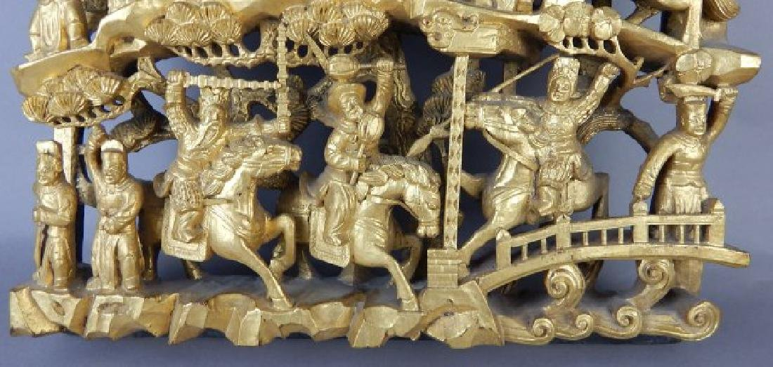 Carved Wood Panel Figures on Horses - 4
