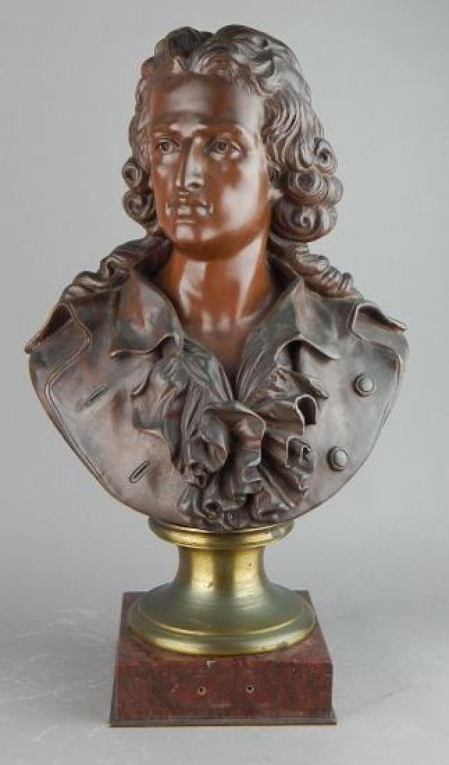 Signed Male Bust on Dark Marble Base