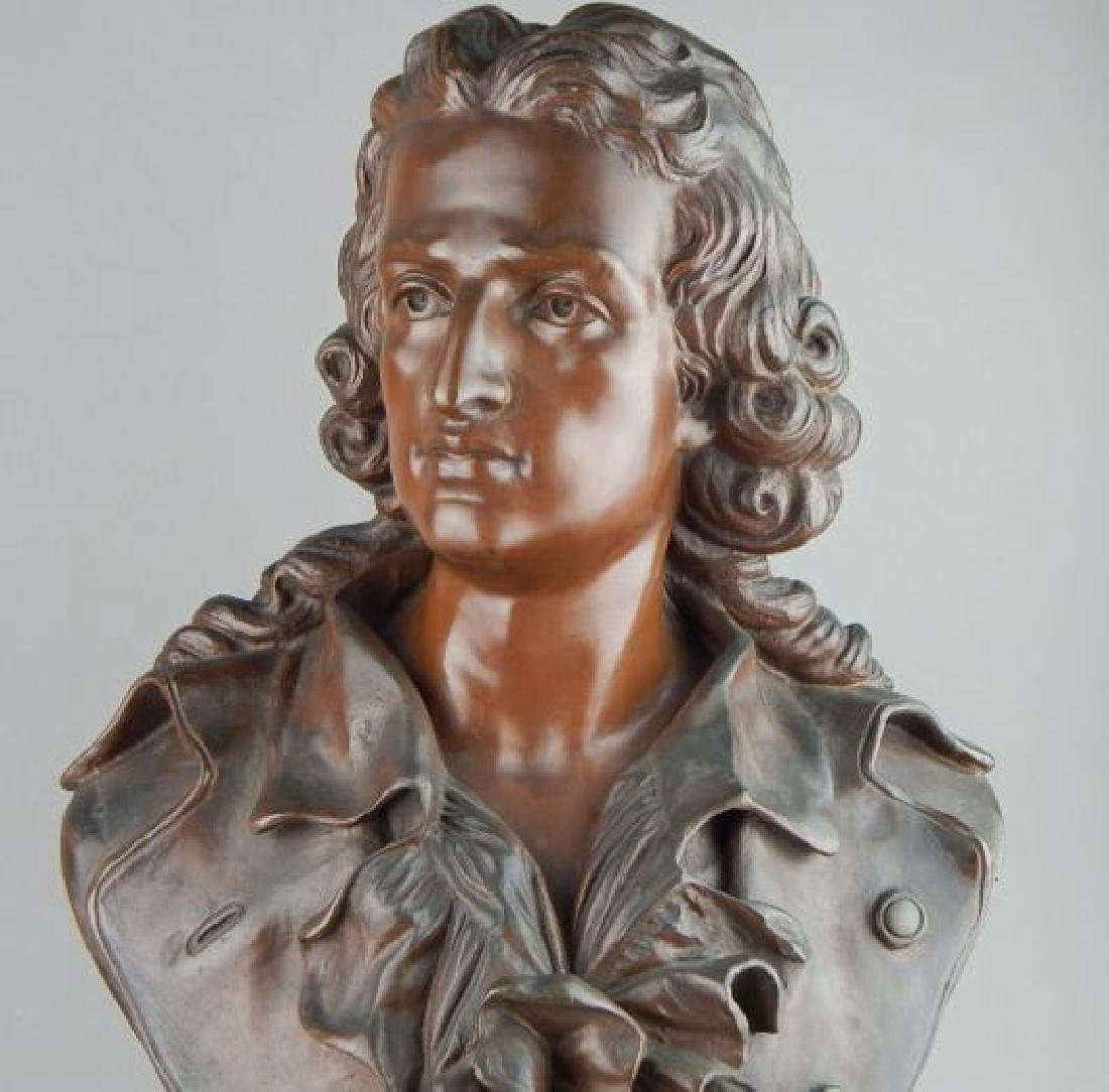Signed Male Bust on Dark Marble Base - 2