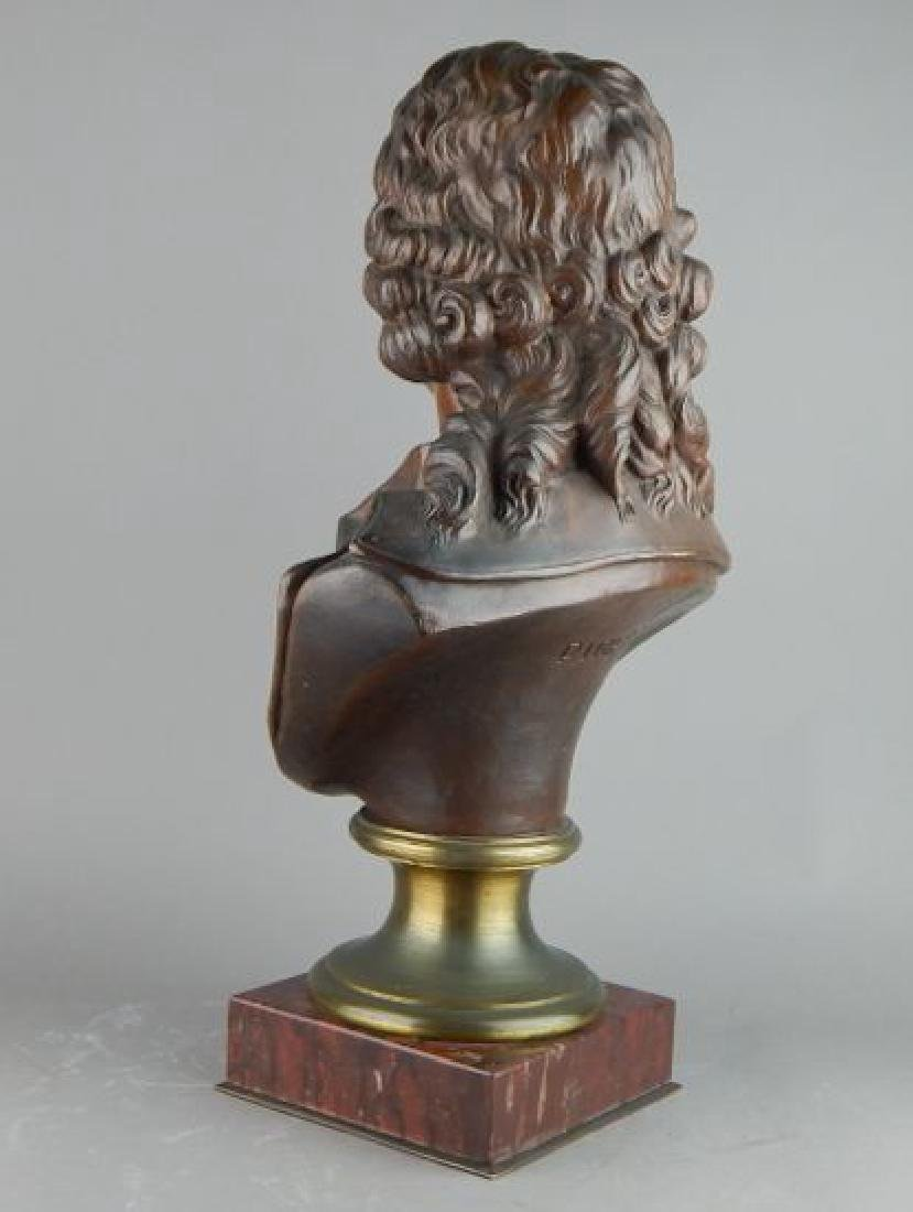 Signed Male Bust on Dark Marble Base - 3