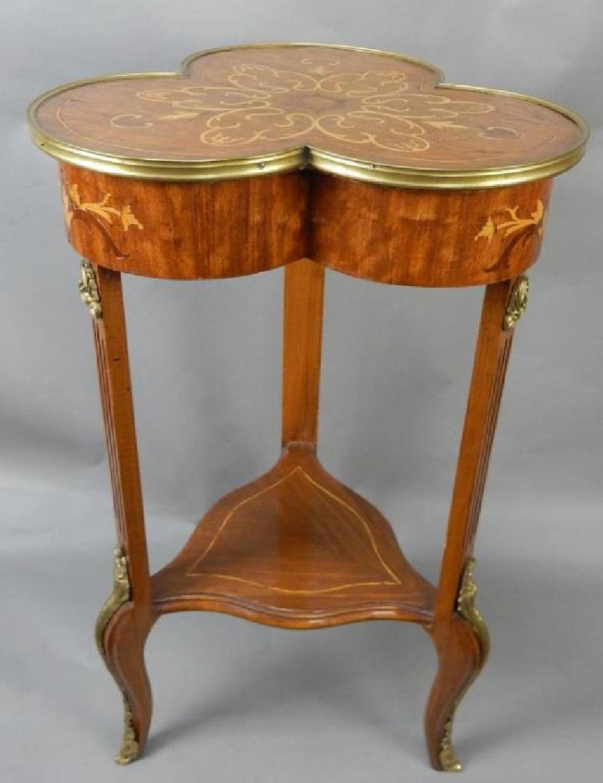 Clover Shaped Marquetry Stand with Shelf