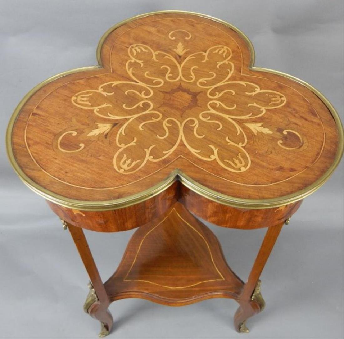 Clover Shaped Marquetry Stand with Shelf - 2
