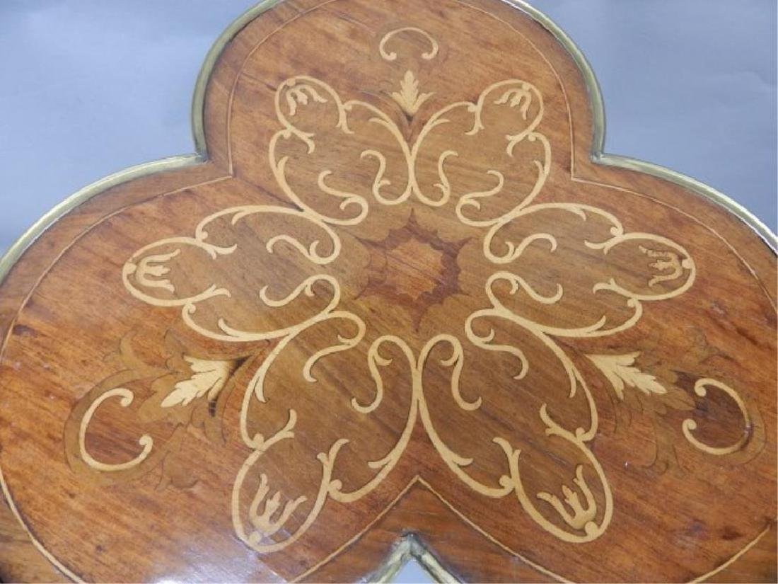 Clover Shaped Marquetry Stand with Shelf - 3