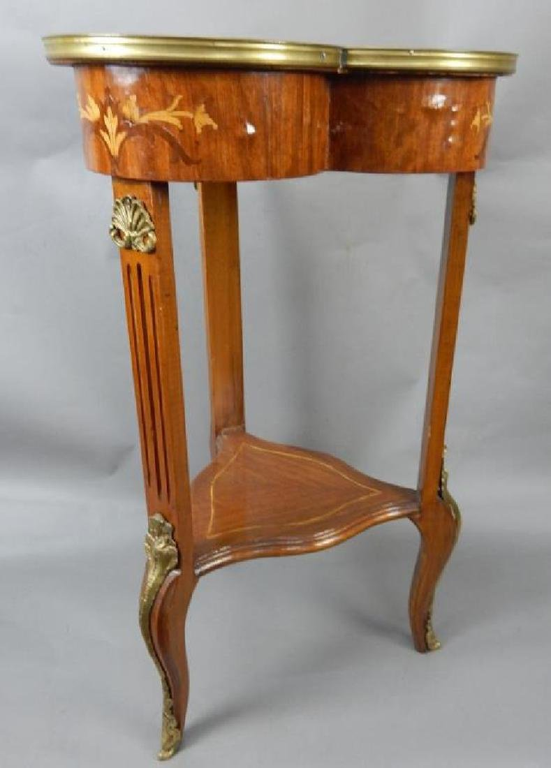 Clover Shaped Marquetry Stand with Shelf - 6