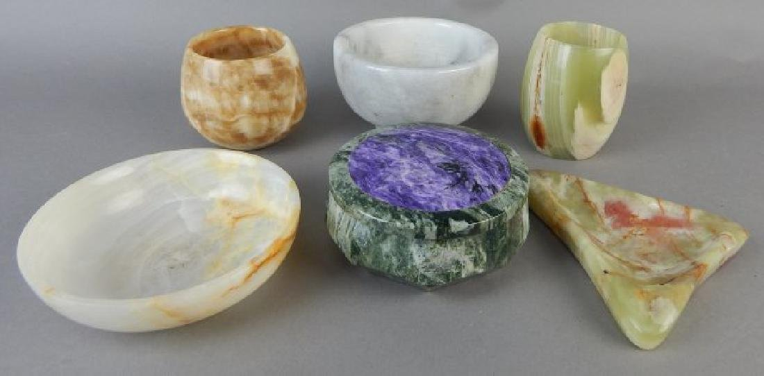 Group of Marble Cups and Bowls