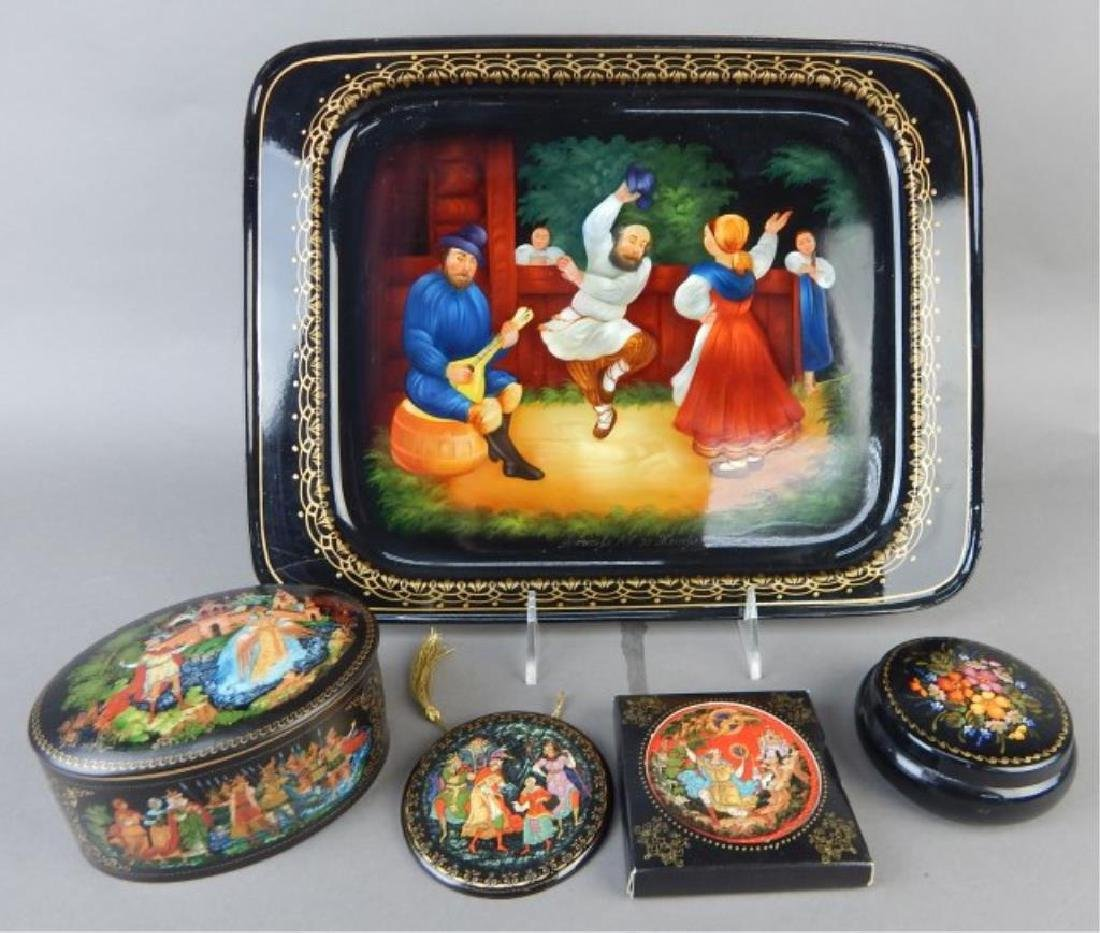 Group of Hand Painted Tray, Boxes and Plaques